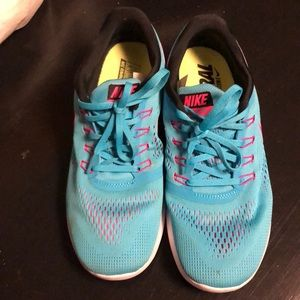 Blue and Pink Nike Women's Shoes